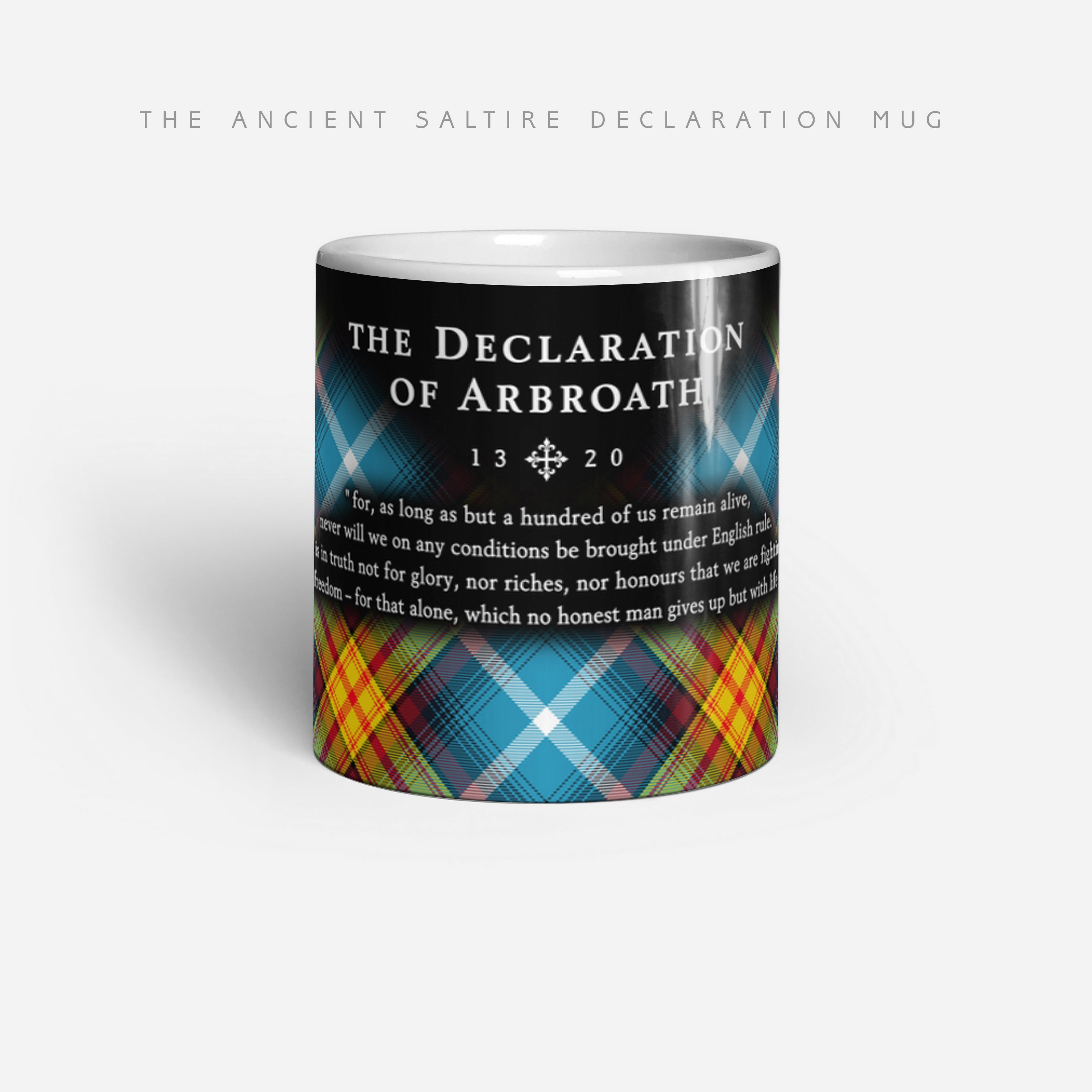 The Declaration of Scottish Independence Tartan Mug - ancient saltire