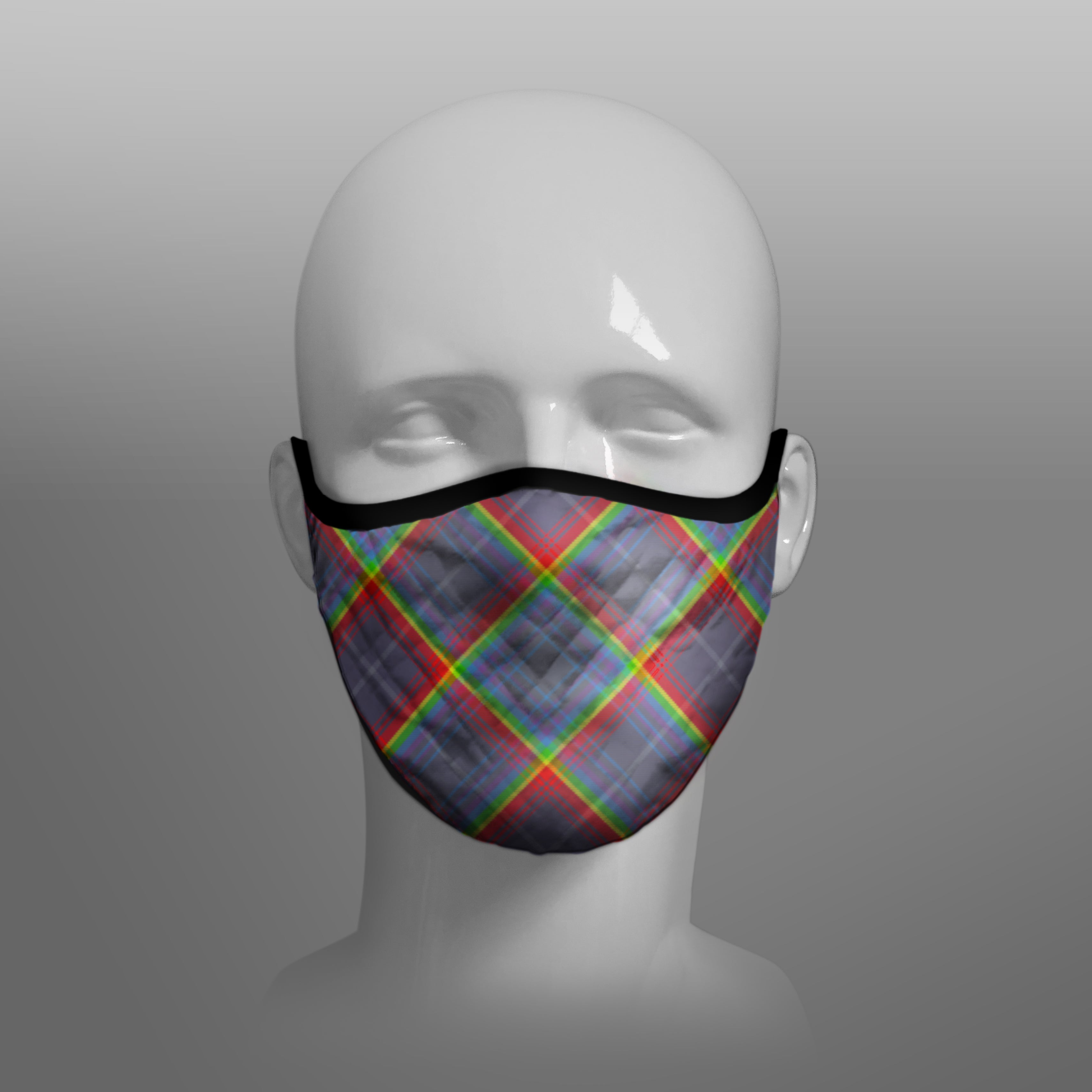 Scotland's Grace the Hope Rainbow - NHS - Contoured Tartan Face Mask - face covering - by Steven Patrick Sim the Tartan Artisan - Stevie Tartan Guy