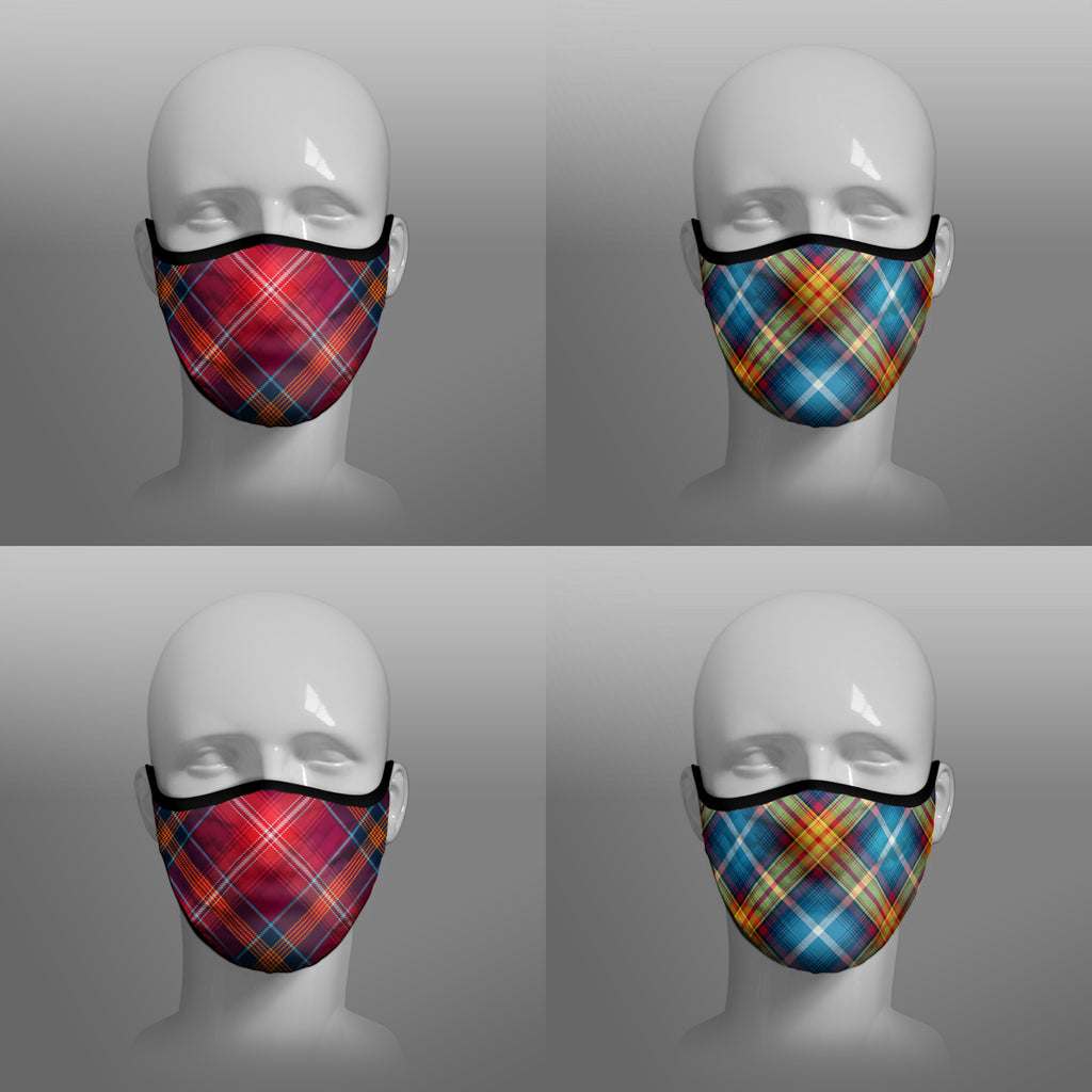 Red Lichtie Lichtie's District tartan Declaration of Scottish Independence tartan face masks by Steven Patrick Sim the Tartan Artisan Stevie Tartan Guy 4 and 2 pack