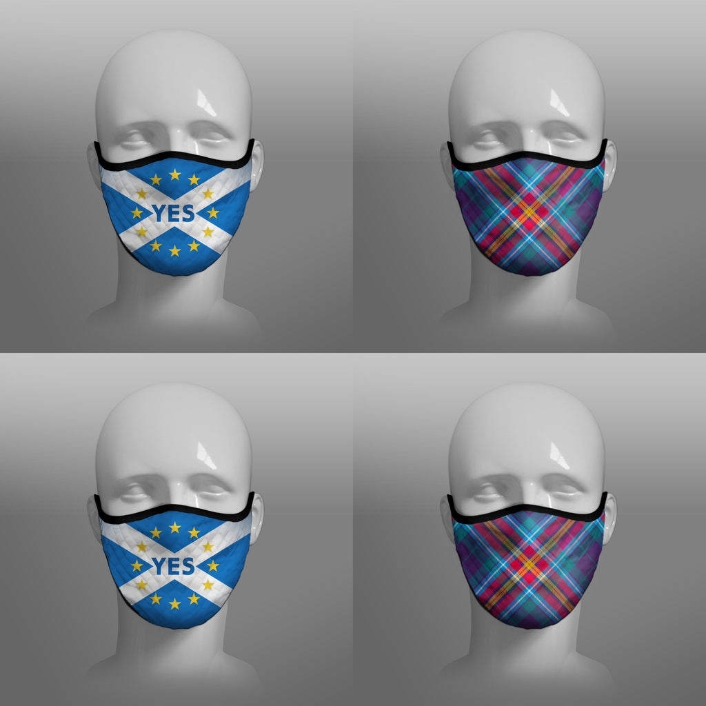 YES IT'S TIME - Alba Gu Brath - Pro EU - European Union - Nicola Sturgeon - Scottish Saltire face mask cloth covering - Nicola Sturgeon - by Steven Patrick Sim the Tartan Artisan - Stevie Tartan Guy - mixed pack of 4