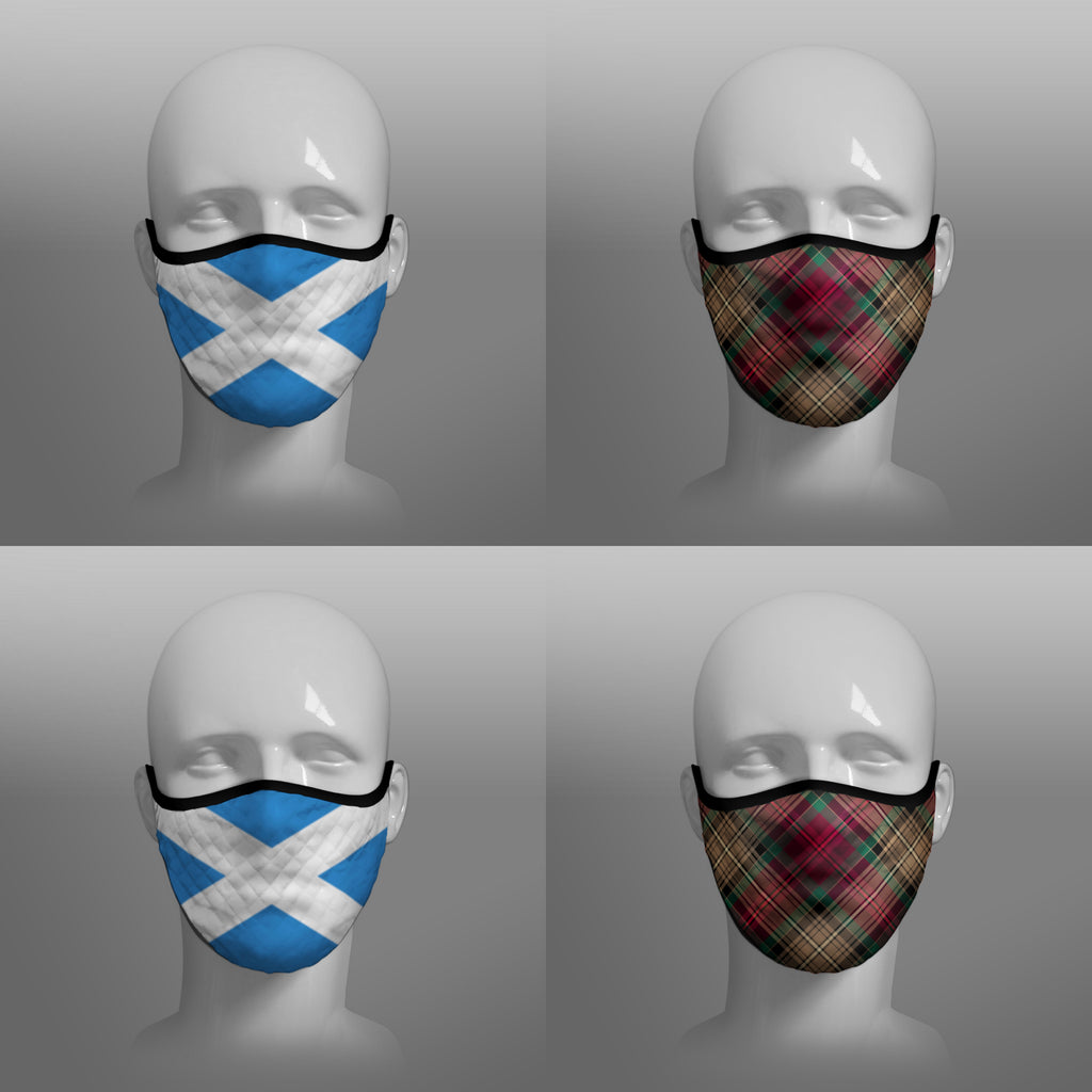 Scottish Saltire The Declaration of Arbroath 7th Centennial 700th Anniversary - cover - 19 - pandemic Coronavirus - Nicola Sturgeon - Scottish face mask cloth covering filter - by Steven Patrick Sim the Tartan Artisan - Stevie Tartan Guy - mixed pack of 4