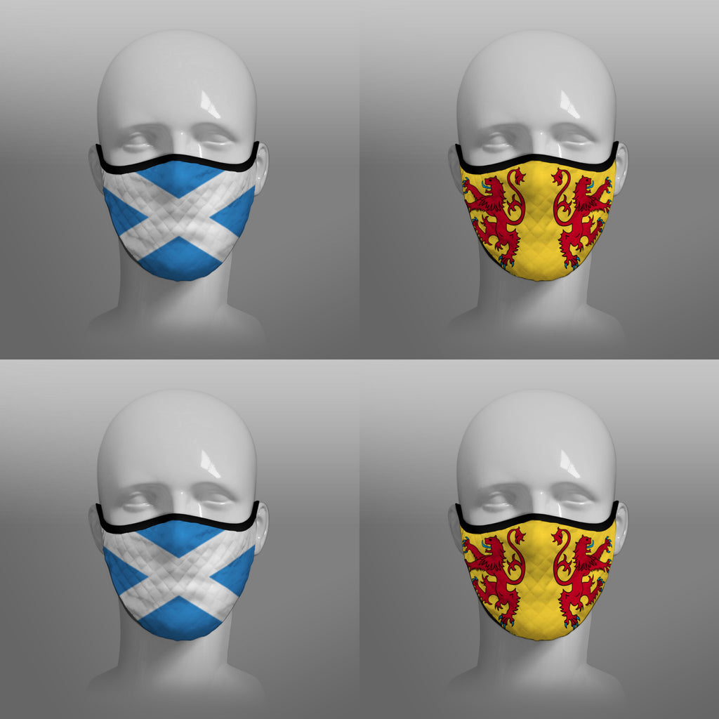 Contoured Face Mask - face covering - Nicola Sturgeon - Scottish Scotland Scots Saltire and Lion Rampant Royal Standard of Scotland - by Steven Patrick Sim the Tartan Artisan - Stevie Tartan Guy - mixed pack of 4 large