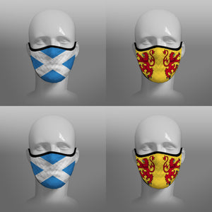 Contoured Face Mask - face covering - Nicola Sturgeon - Scottish Scotland Scots Saltire and Lion Rampant Royal Standard of Scotland - by Steven Patrick Sim the Tartan Artisan - Stevie Tartan Guy - mixed pack of 4 medium