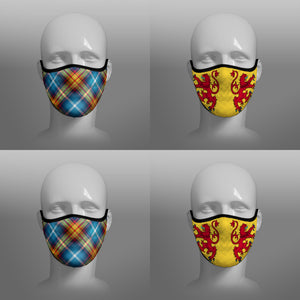 Contoured Face Mask - face covering - Nicola Sturgeon - Declaration of Scottish Independence tartan and Lion Rampant Royal Standard of Scotland - by Steven Patrick Sim the Tartan Artisan - Stevie Tartan Guy - mixed pack of 4 large