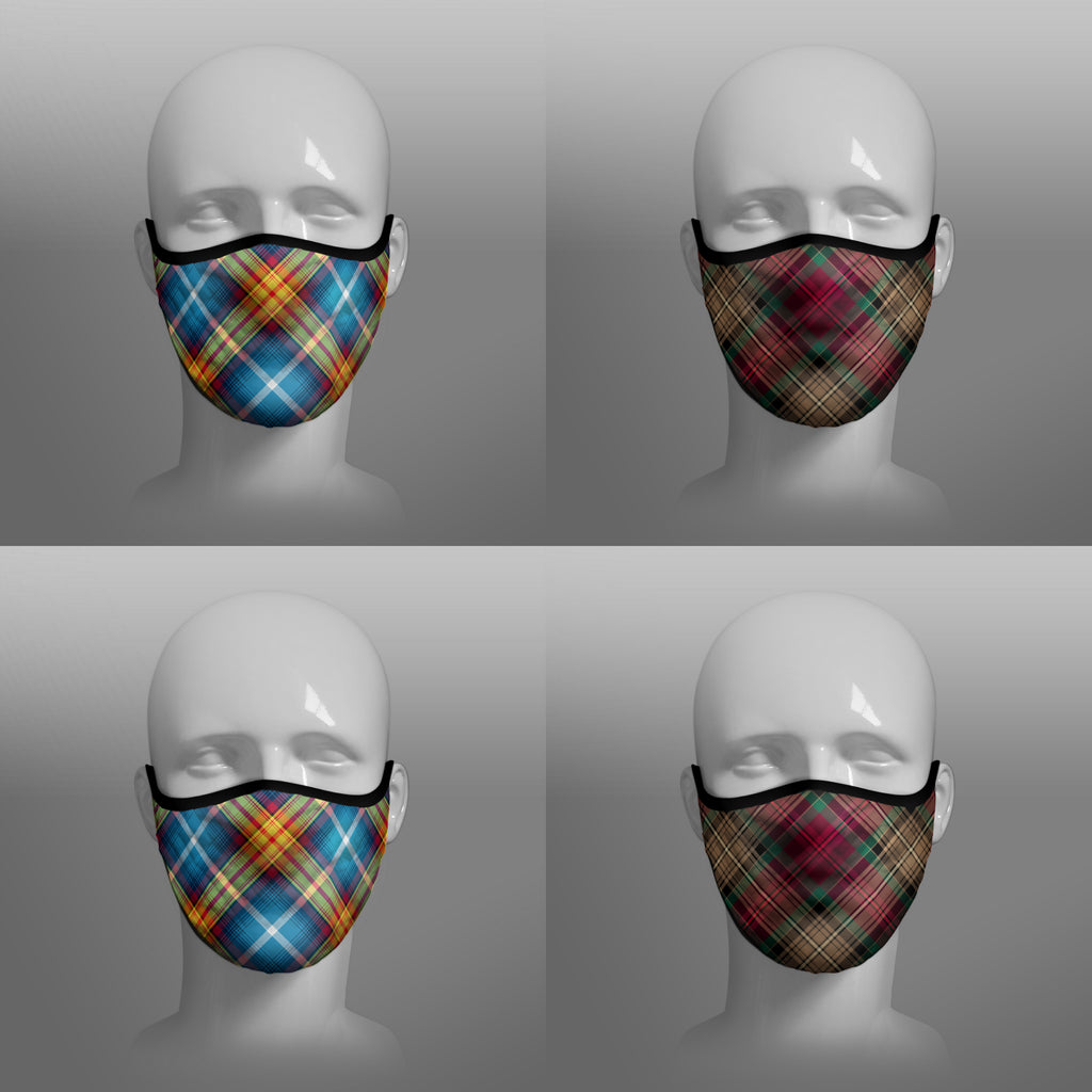 The Declaration of Scottish Independence Arbroath 6th April 1320 700th Anniversary 7th Centennial Contoured Tartan - Nicola Sturgeon - Scottish Saltire - Face Mask - exclusively produced by Steven Patrick Sim the Tartan Artisan - Scotland - mixed pack of 4