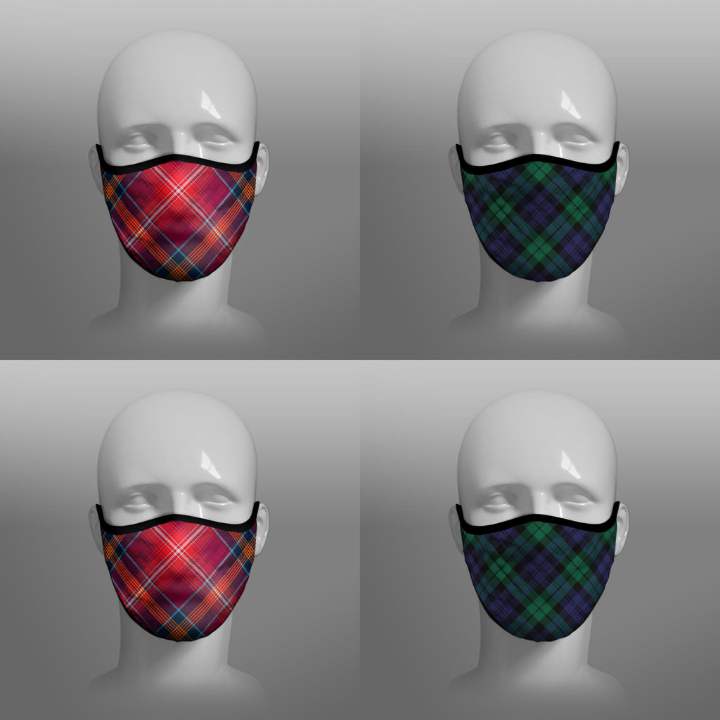Red Lichtie district tartan Arbroath Black Watch face covering - by Steven Patrick Sim the Tartan Artisan - Stevie Tartan Guy - mixed pack of 4