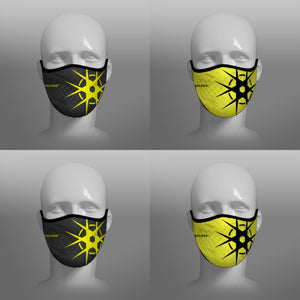 Virohazard tartan face mask facemask face-mask covid - 19 - pandemic Coronavirus - Nicola Sturgeon - Scottish cloth face covering filter - by Steven Patrick Sim the Tartan Artisan - Stevie Tartan Guy - black and yellow with logo - 4 pack