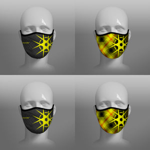 Virohazard tartan face mask facemask face-mask covid - 19 - pandemic Coronavirus - Nicola Sturgeon - Scottish cloth face covering filter - by Steven Patrick Sim the Tartan Artisan - Stevie Tartan Guy - black with logo and tartan - 4 pack