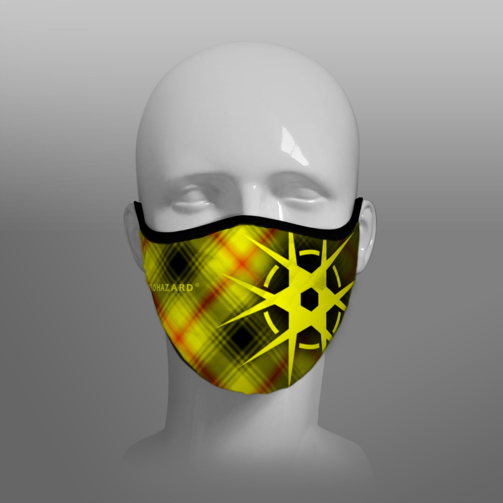 Virohazard tartan face mask facemask face-mask covid - 19 - pandemic Coronavirus - Nicola Sturgeon - Scottish cloth face covering filter - by Steven Patrick Sim the Tartan Artisan - Stevie Tartan Guy - tartan with logo