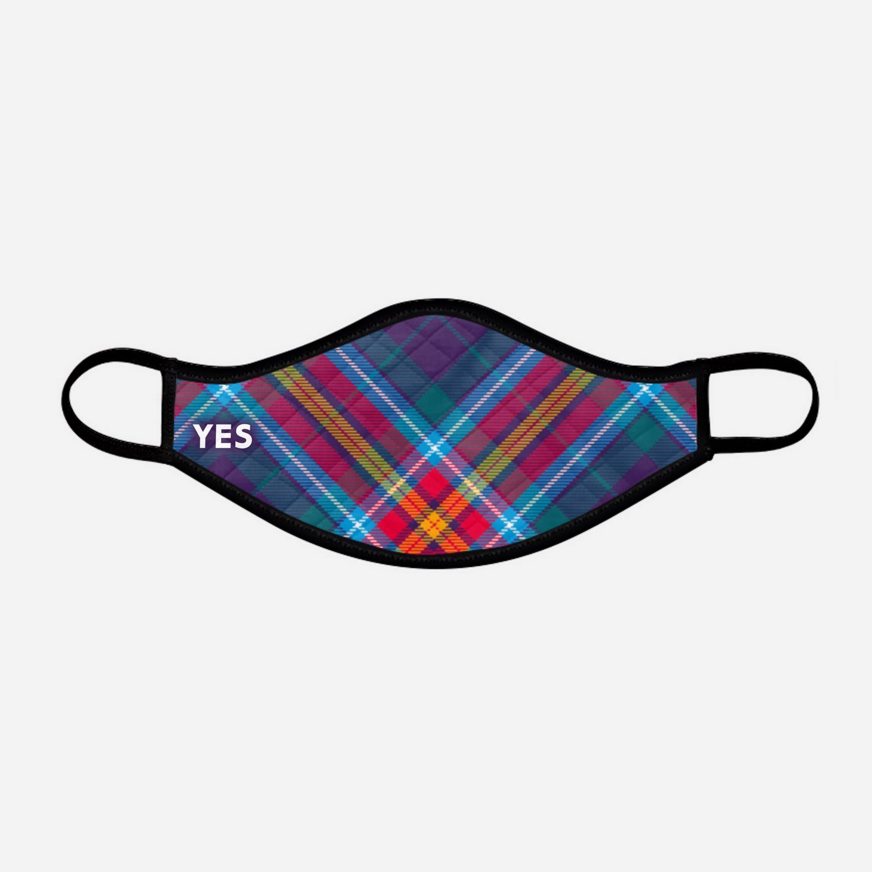 YES IT'S TIME - Alba Gu Brath - Pro EU - European Union Contoured Tartan - Scottish Saltire - Face Mask - small