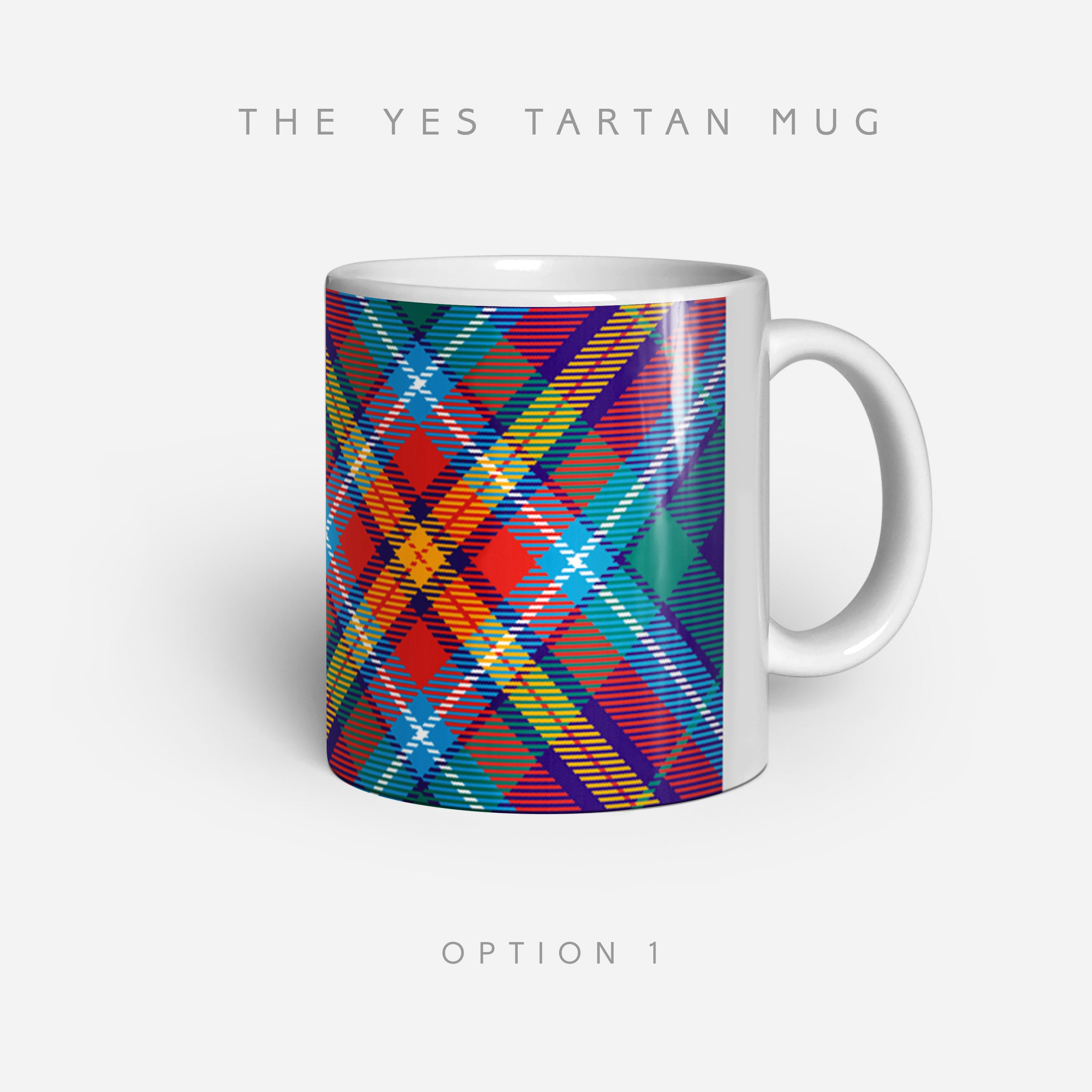 SNP Unofficial YES Tartan Mugs by Steven Patrick Sim