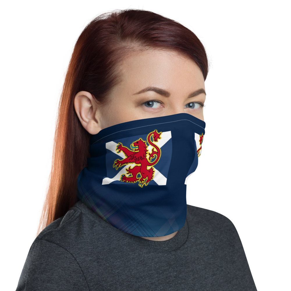 Lion Rampant and old Navy Saltire Declaration of Scottish Independence tartan Neck Gaiter 5