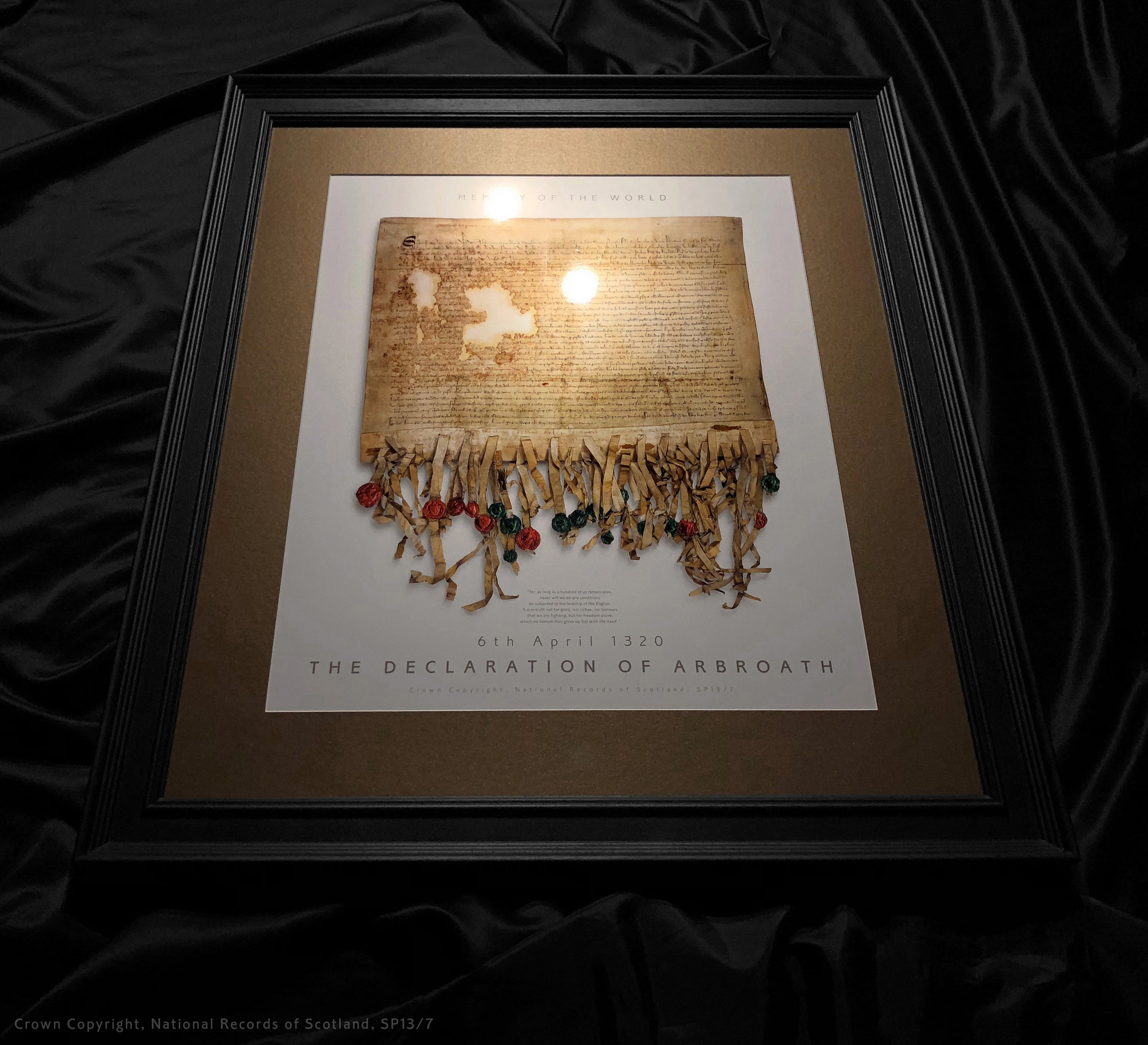 DECLARATION OF ARBROATH - GOLD metallic print editions - Produced on the latest generation C-Type Chromira Light-jet printer - only 700 copies - Pearl edition bronze mount