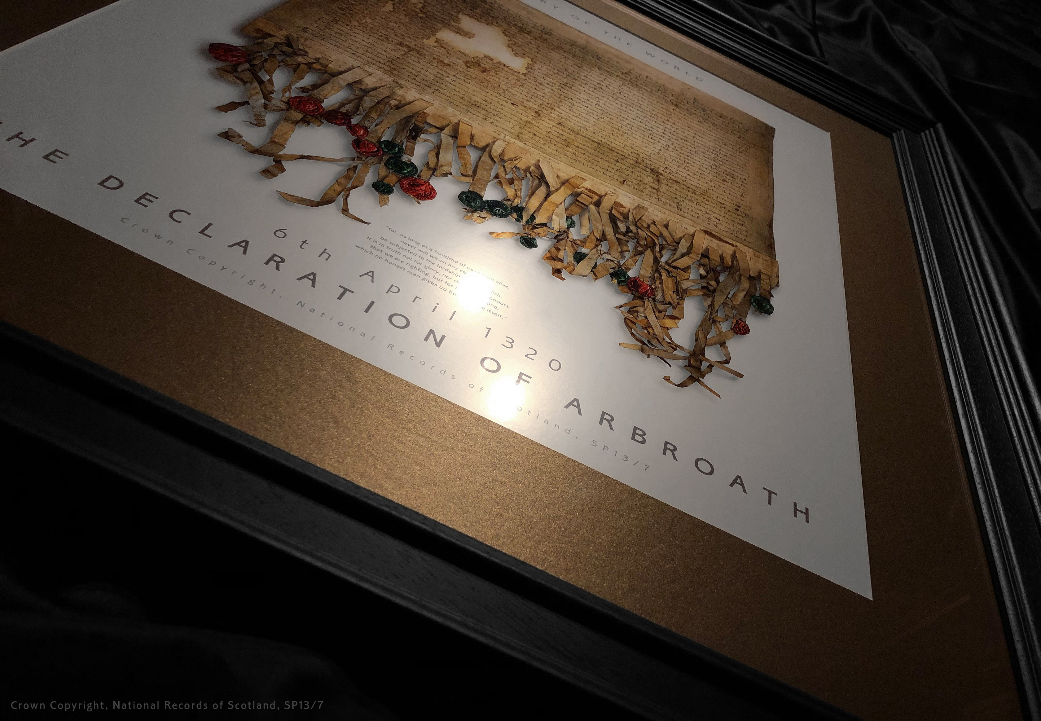 The Declaration of Arbroath Gold Metallic Print Editions - Pearl - with spotlight - bronze mount