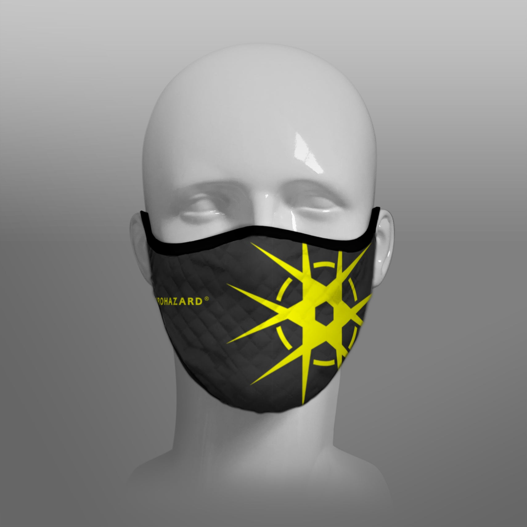 Virohazard tartan face mask facemask face-mask covid - 19 - pandemic Coronavirus - Nicola Sturgeon - Scottish cloth face covering filter - by Steven Patrick Sim the Tartan Artisan - Stevie Tartan Guy - black with yellow registered trademark logo