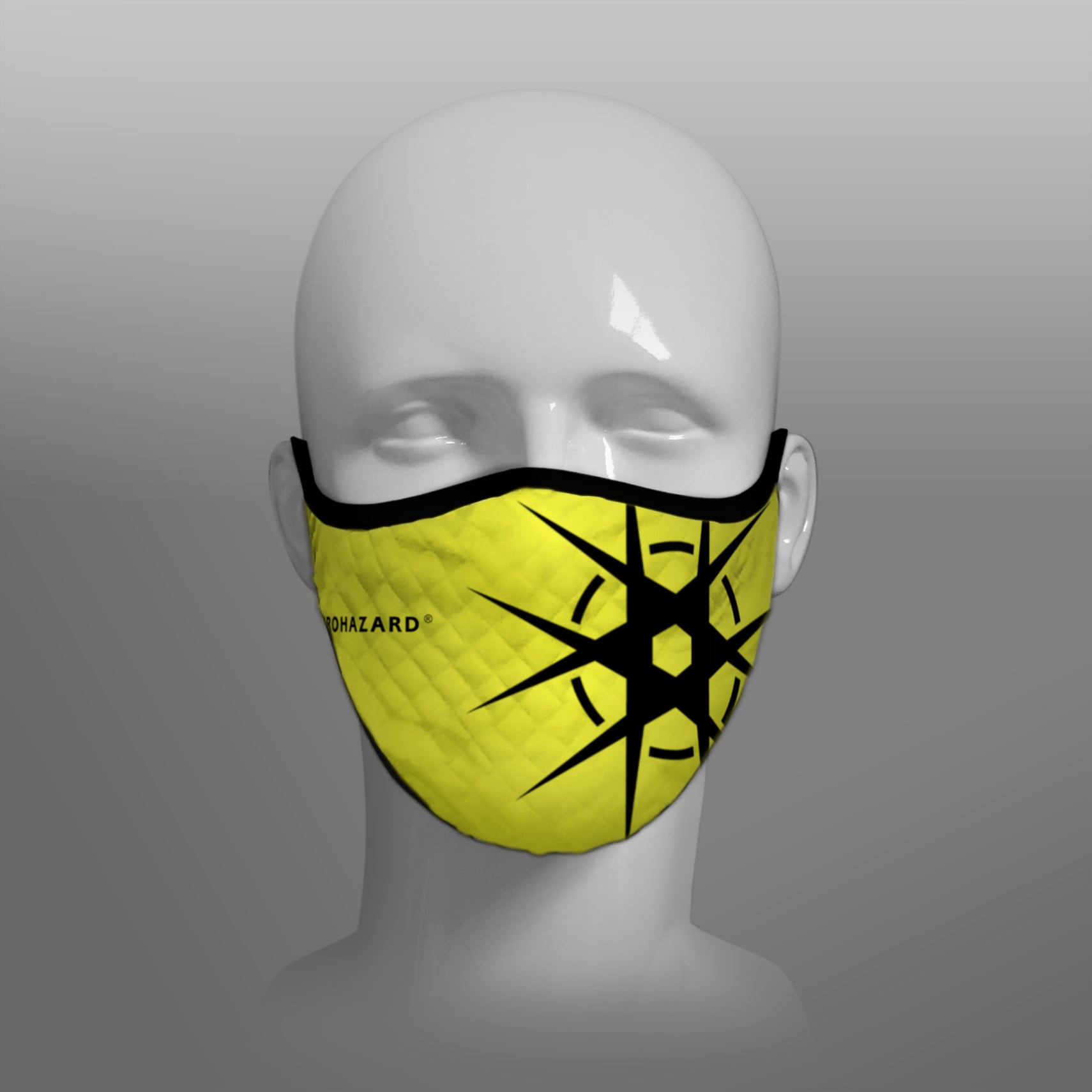 Virohazard tartan face mask facemask face-mask covid - 19 - pandemic Coronavirus - Nicola Sturgeon - Scottish cloth face covering filter - by Steven Patrick Sim the Tartan Artisan - Stevie Tartan Guy - yellow with logo