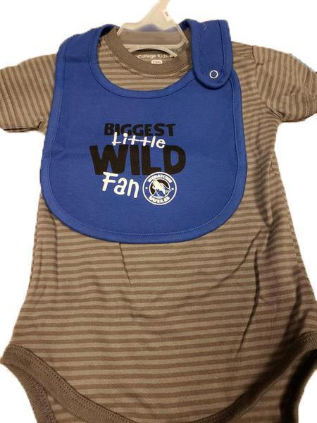 Biggest Little Wild Fan Grey Stripe Bodysuit w/ Blue Bib