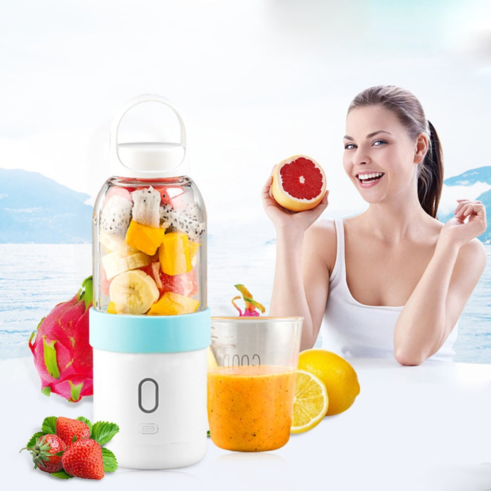 550ml Portable Blender USB Juicer Cup Fruit Vegetable Mixer Smoothie Milk Shake Hand Personal Blender Small Juice Extractor