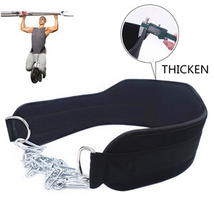 Thick Neoprene Weight Lifting Belt with Chain Dipping Belt for Pull Up Chin Up Kettlebell Barbell Fitness Bodybuilding Gym Belt