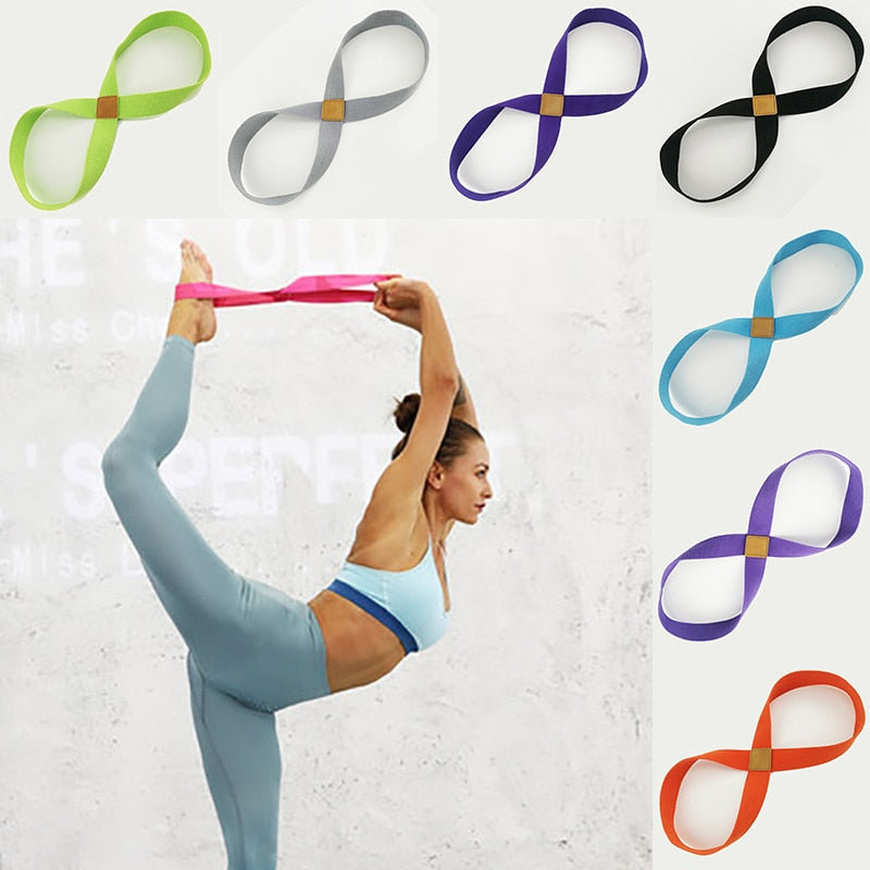 Yoga Stretch Strap Belt 8-shaped Women Pull Up Bands Belt