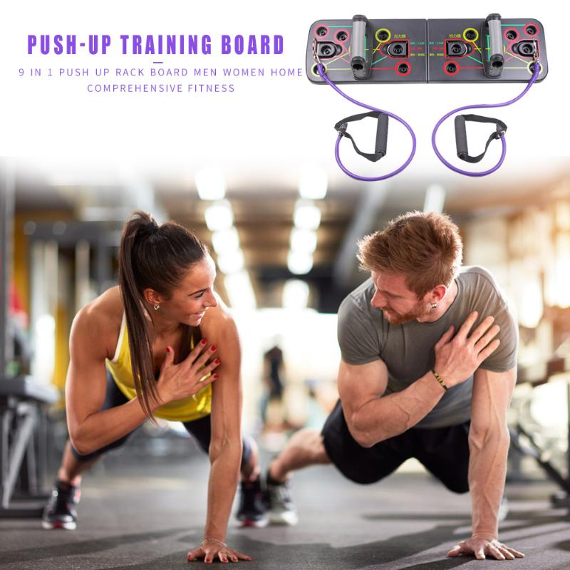 Push Up Rack Stand Board with Resistance Bands