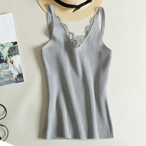 Women Lace Camisole Splicing Tank Top