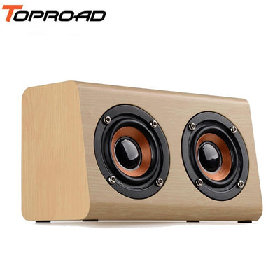 TOPROAD Wireless Bluetooth Speaker Wooden Portable Stereo Subwoofer Loudspeaker enceinte with MIC altavoce