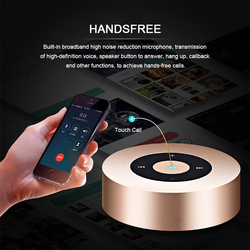 TOPROAD Mini Column Wireless Bluetooth Speaker Portable Steel Touch Altavoz Handfree with MIC