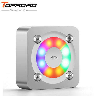 TOPROAD LED light Wireless Altavoz Bluetooth Speakers Metal Stereo Deep Bass Speaker Handsfree With Mic TF