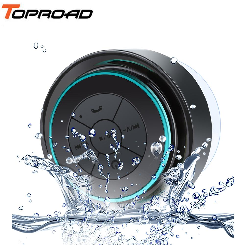 TOPROAD Mini Wireless Speakers Waterproof Shower Sucker Bluetooth Speaker enceinte Hands-free with Mic Subwoofer Caixa de som