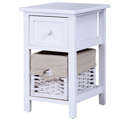 2 Tier Nightstand 1 Drawer Bedside End