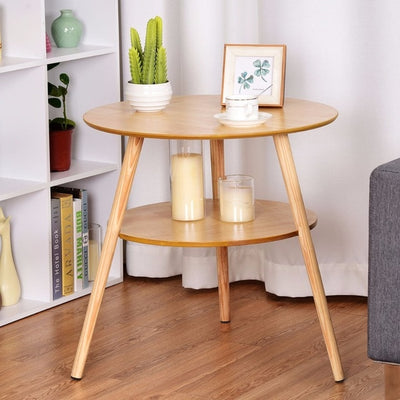 2-Tier Round End Coffee Table Side Accent