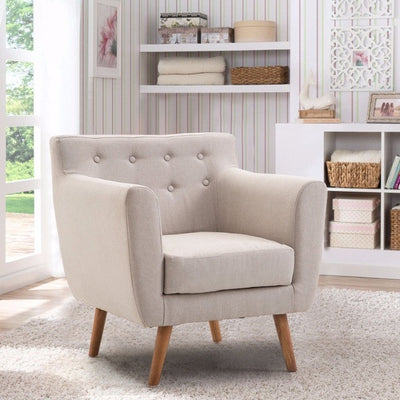 Living Room Arm Chair Tufted Back Fabric