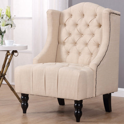 Modern Tall Wing Back Tufted Accent