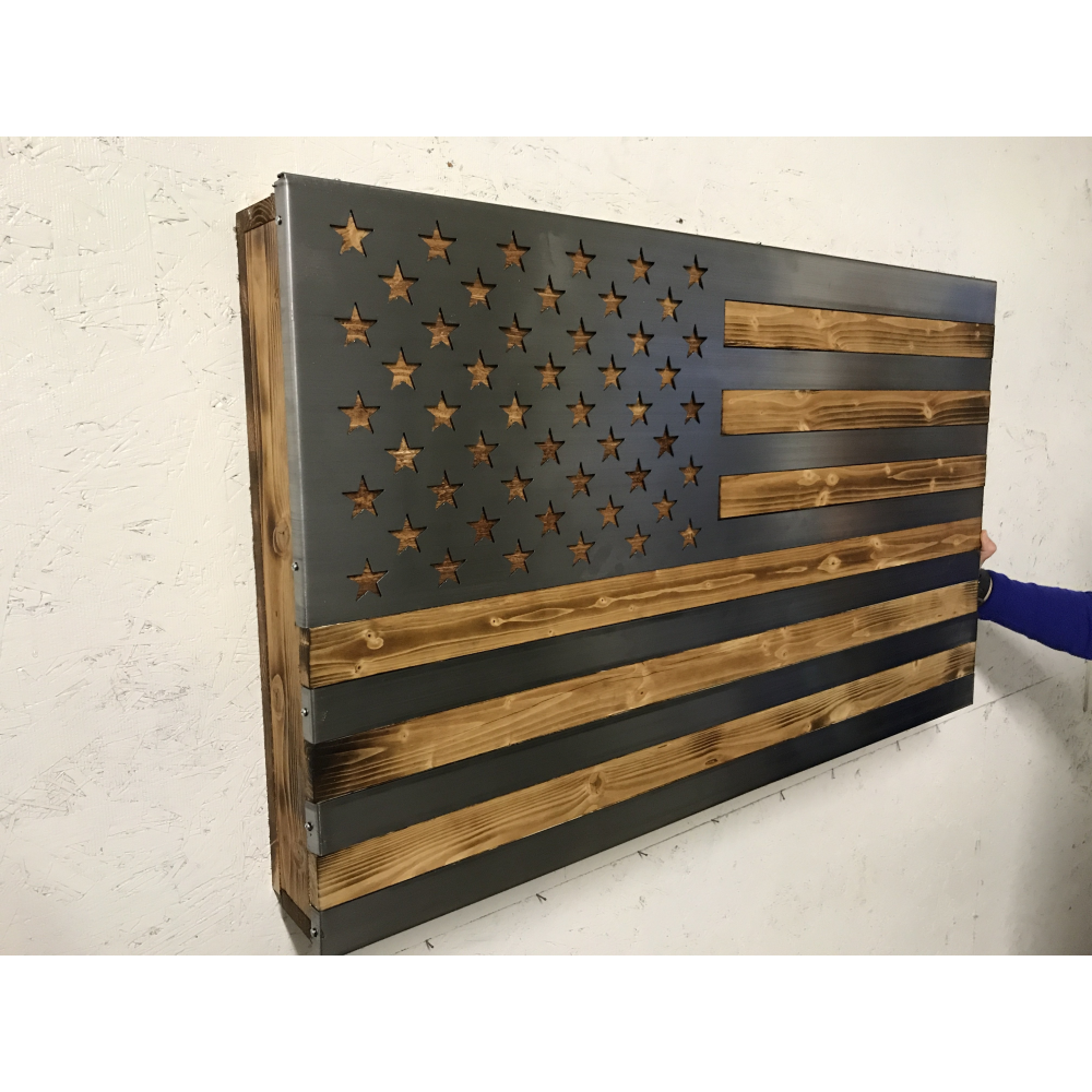 Freedom Cabinet topped with burned, oiled wood and inlaid Polished US Flag