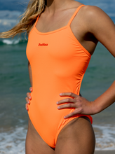Load image into Gallery viewer, Neon Orange One-piece Swimsuit