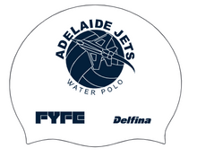 Load image into Gallery viewer, FYFE Adelaide Jets Silicone Swim Caps (Navy & White)