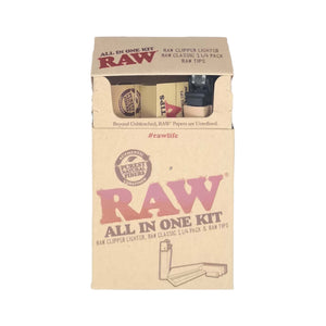 Raw All in One Kit Rolling Papers Tips Lighter and Box Leaf Butler