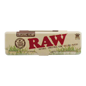 Raw Organic Hemp King Size Rolling Paper Metal Case