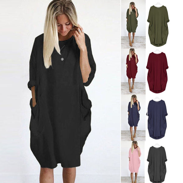 Ladies Pocket Loose Dress