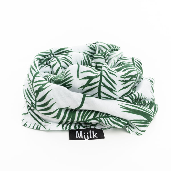 Tropical Green Leaf Muslin
