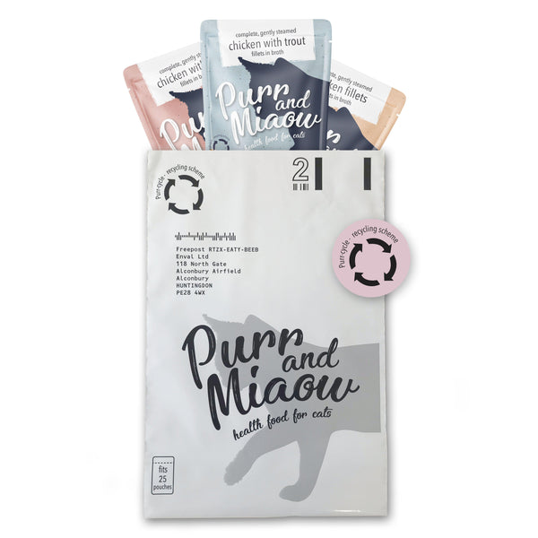10x Purr-cycle pre-paid pouch recycling bags