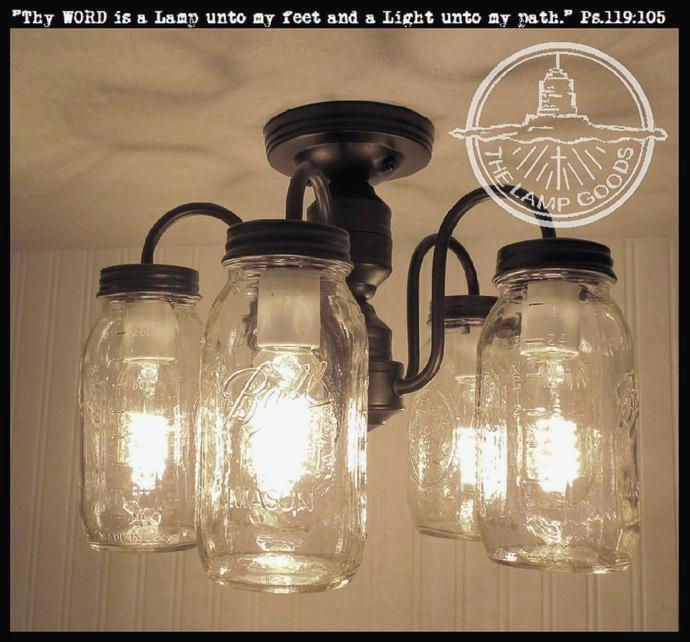 Neutral Mason Jar Light Fixture