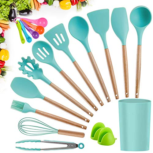 Kitchen Utensil Set, CROSDE 15pcs Cooking Utensils Set Silicone Kitchen Tools Wooden Spatula Set Cookware Turner Tongs Spatula Spoon Kitchen Gadgets with Holder – Teal