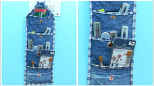 This video is about how to make multi pocket organizer from old denim or old jeans