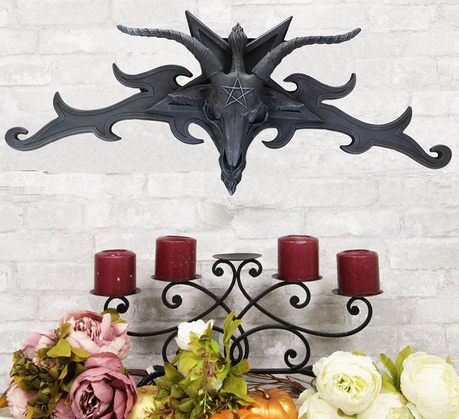 "Ebros Large 34"" Wide Satanic Sabbatic Goat of Mendes Baphomet Head with Pentagram Star and Hell Fire Wings Wall Decor Plaque Entrance Overdoor Pediment Door Hanger 3D Wall Art Satanic Horned God"