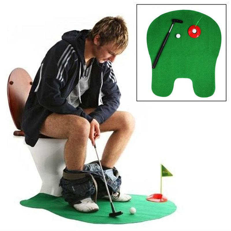 1Set Bathroom Funny Golf Toilet Time Mini Game Play Putter Novelty Gag Gift Mat Mens Toy New