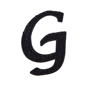 "5"" Pin-On Black Embossed Felt Monogram Letter G, Set of 2"