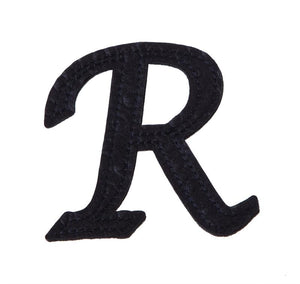"5"" Pin-On Black Embossed Felt Monogram Letter R, Set of 2"