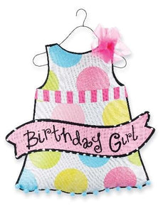 Mud Pie Birthday Girl Party Dress Door Hanger Sign